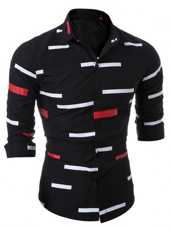 رفض طوق الطباعة الهندسية قميص - أسود 2XL