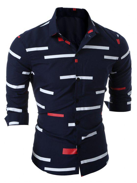 رفض طوق الطباعة الهندسية قميص - Cadetblue رقم XL