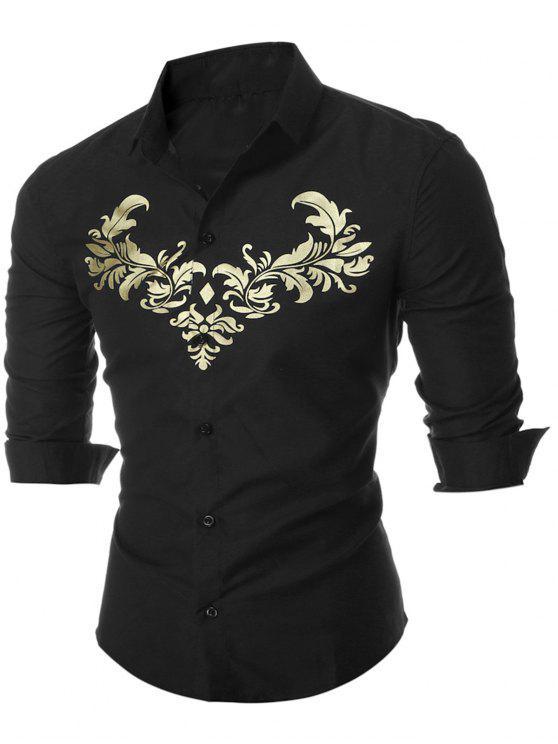 قميص كاجوال بوتون أوب رويال طباعة - أسود 3XL