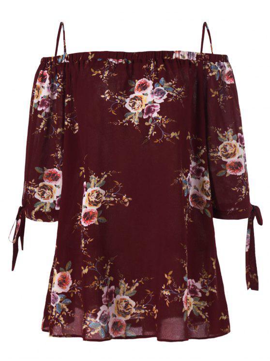 Blouse Grande Taille Florale Épaules Ouvertes - Rouge vineux  2XL