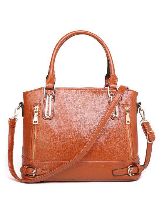 حزام أبازيم فو الجلود حقيبة حمل - BROWN