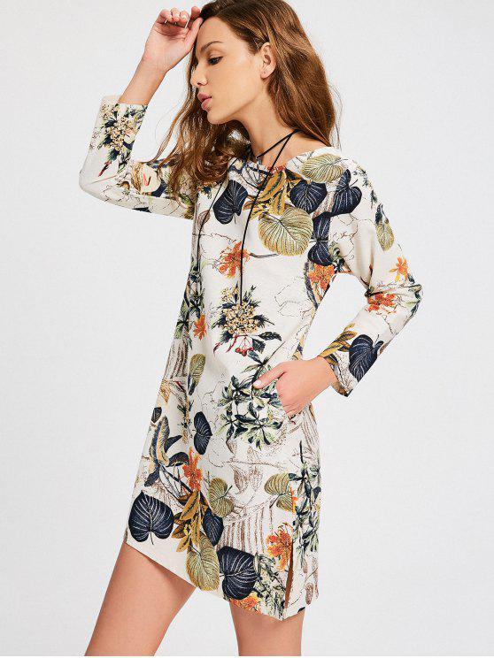 hot Leaves Print Side Slit Trapeze Dress - MULTI M
