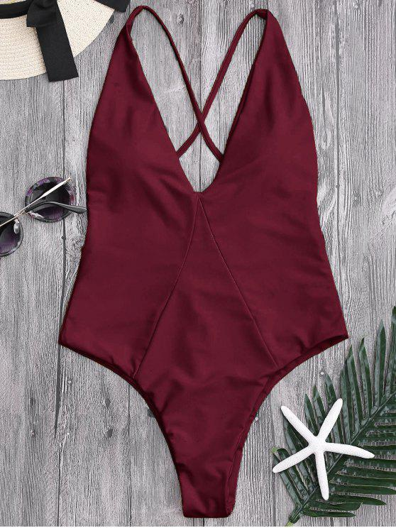 women's High Cut Cross Back Swimwear - BURGUNDY M