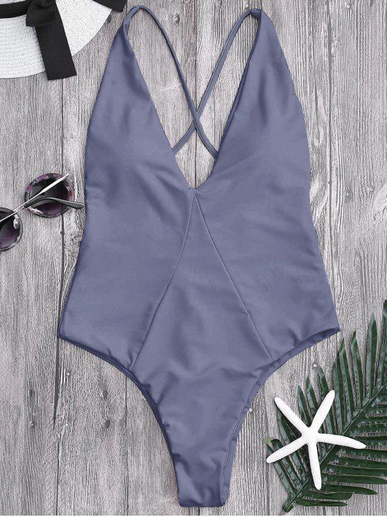 trendy High Cut Cross Back Swimwear - GRAY XL