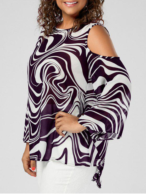 65860188c 28% OFF] 2019 Plus Size Cold Shoulder Graphic High Low Top In PURPLE ...