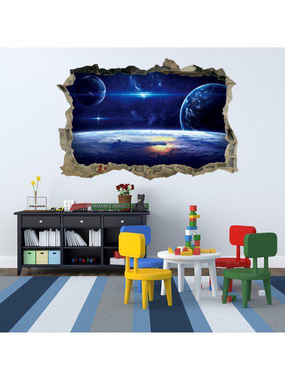غالاكسي الكواكب 3D كسر جدار الفن ملصق - أزرق 45 * 60CM