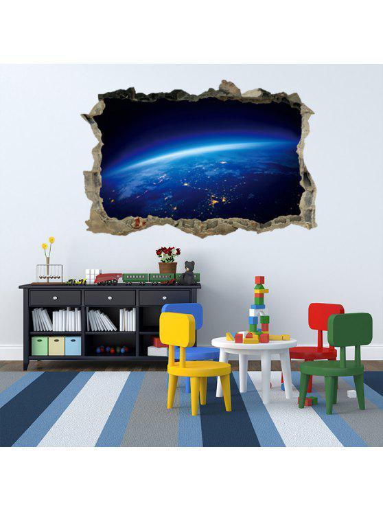 سطح الكوكب 3D كسر جدار الفن ملصق - أزرق 45 * 60CM