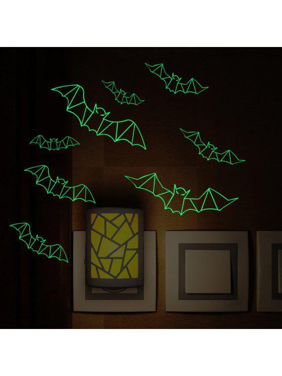 3d الخفافيش يتوهج في الظلام هالوين ملصقات الحائط الفن - أسود