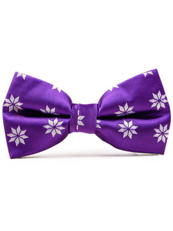 Geometrical Flower Pattern Polyester Bow Tie - Purple