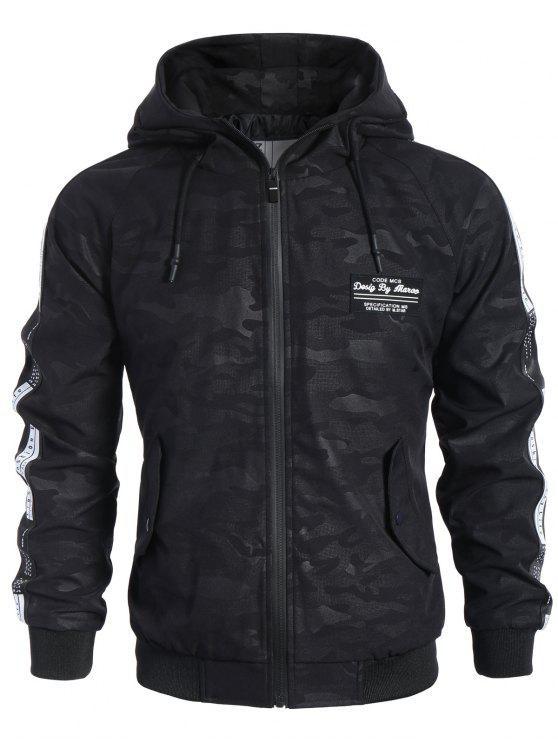 shop Side Letter Print Camo Hooded Jacket - BLACK XL