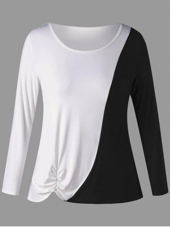 T-shirt de manga curta com tamanho grande de dois tons - Branco e Preto 5XL