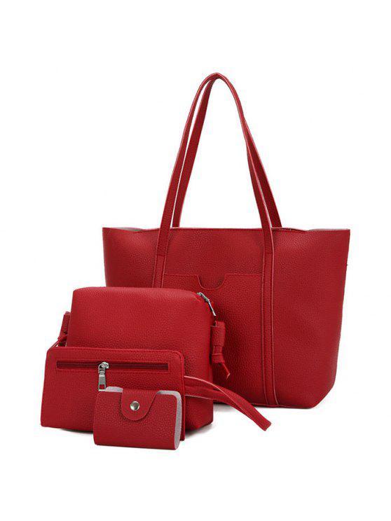 محكم جلد 4 قطع حقيبة الكتف مجموعة - أحمر