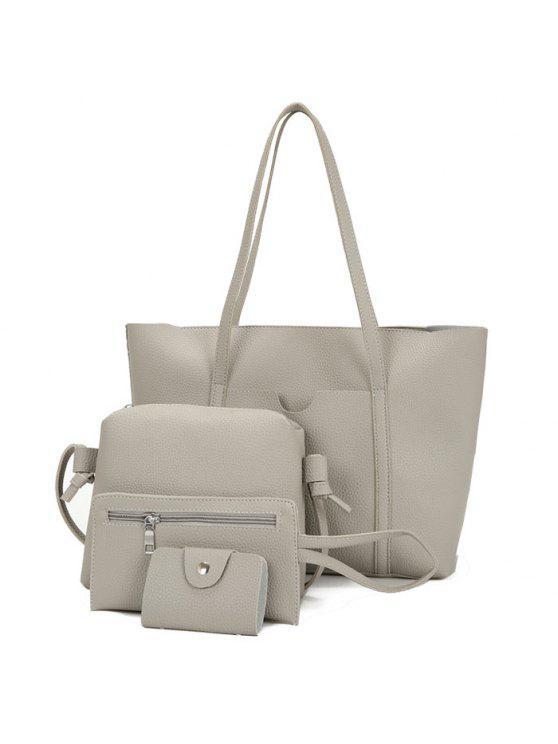 مجموعة حقيبة كتف من 4 قطع من الجلد - اللون الرمادي