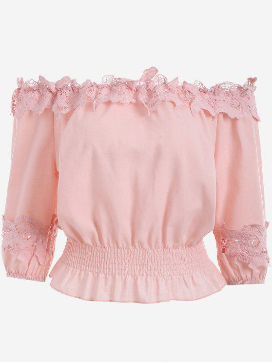 hot Lace Panel Off The Shoulder Blouse - PINK ONE SIZE