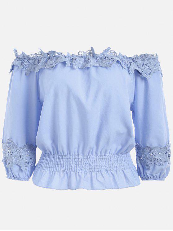 online Lace Panel Off The Shoulder Blouse - BLUE VIOLET ONE SIZE