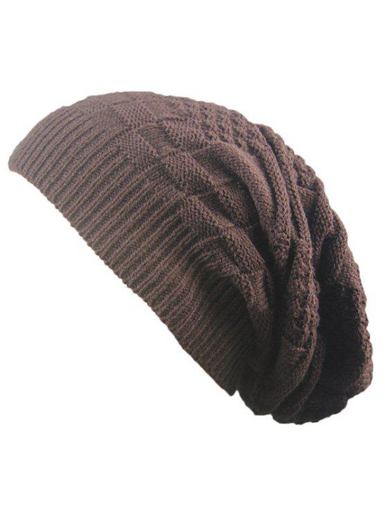 latest Striped Checked Draped Knitted Hat - COFFEE