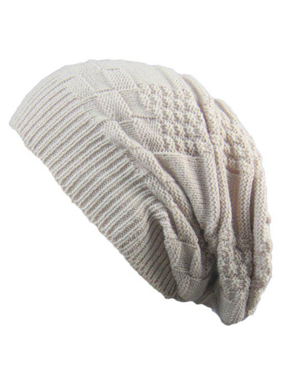 unique Striped Checked Draped Knitted Hat - BEIGE