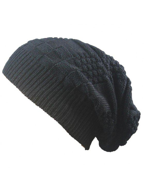 hot Striped Checked Draped Knitted Hat - BLACK