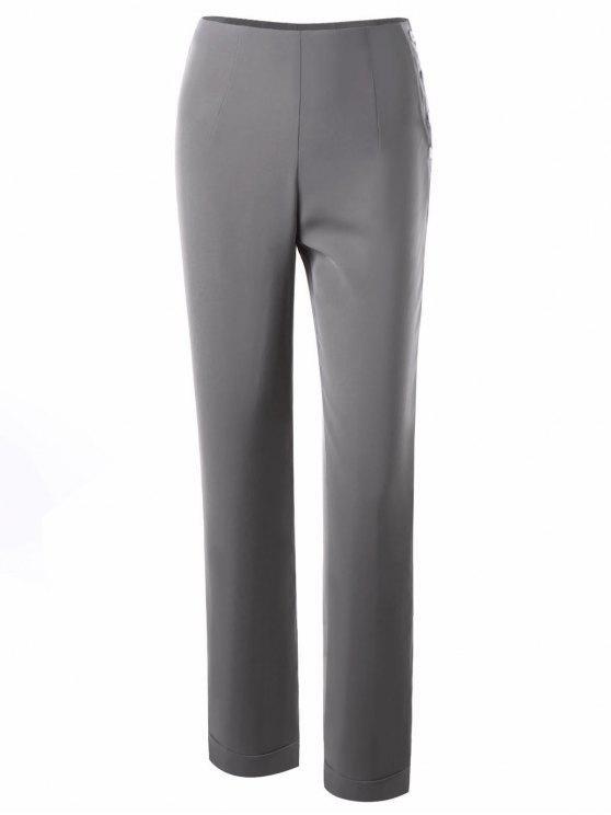 Calças de vestido com botão - Cinza Claro L