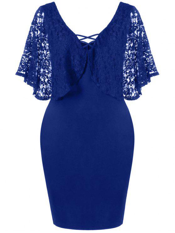 فستان دانتيل باتوينغ الأكمام الحجم الكبير - ازرق غامق 4XL