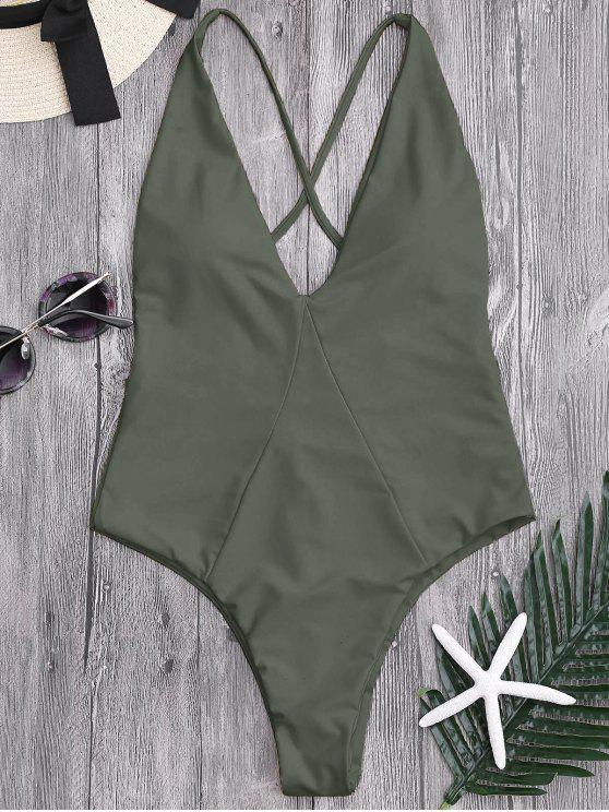 لباس سباحة من قطعة واحدة برباط متقاطع في الخلف - الجيش الأخضر S