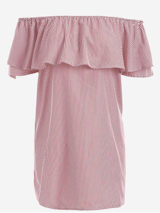 Mini Robe Épaules Dénudées Rayée à Volant - Rouge L