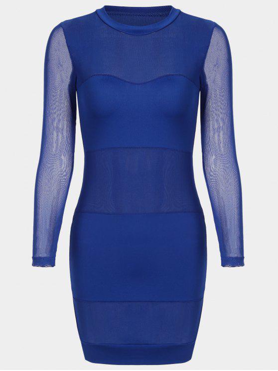 فستان ضيق شبكي شير - أزرق M