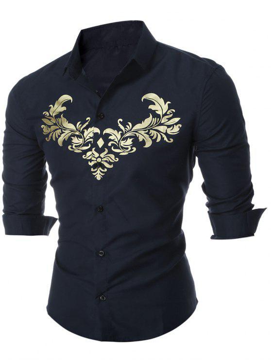 بوتون أوب رويال طباعة قميص كاجوال - Cadetblue رقم L