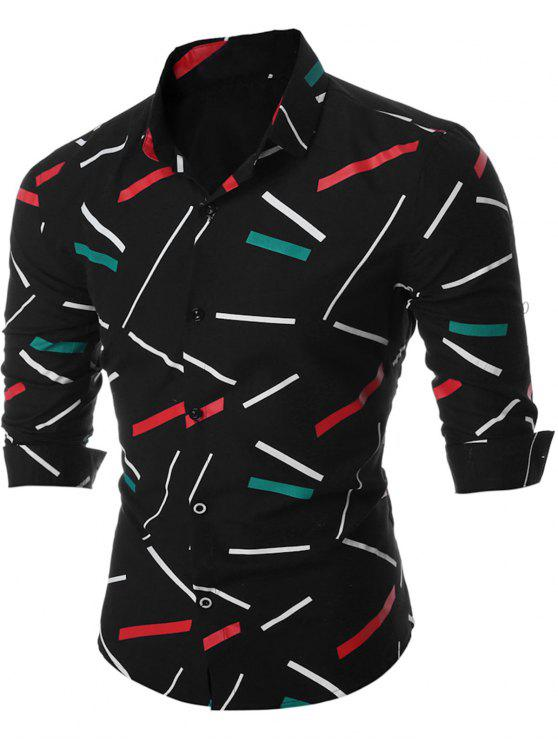 قميص طويل الأكمام زر حتى الطباعة الجغرافية - أسود 3XL