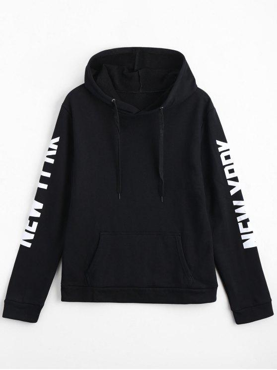 fashion Letter Print Front Pocket Drawstring Hoodie - BLACK L