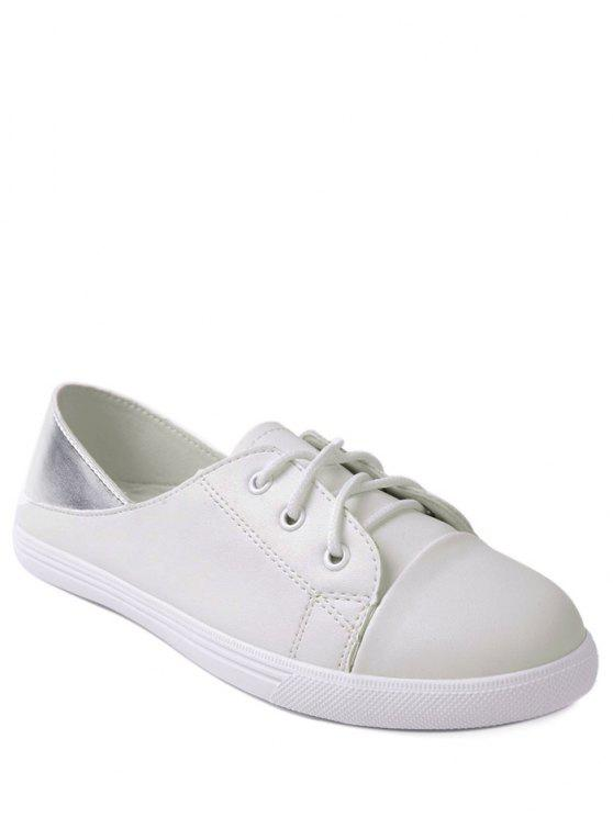 Faux Leather Tie Up Deux Tone Flat Shoes - Blanc 37