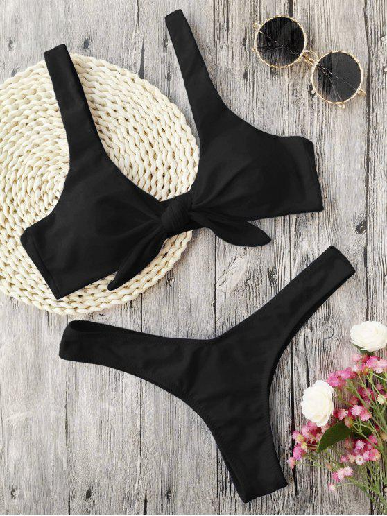 hot Scrunch Butt Knotted Thong Bikini - BLACK L