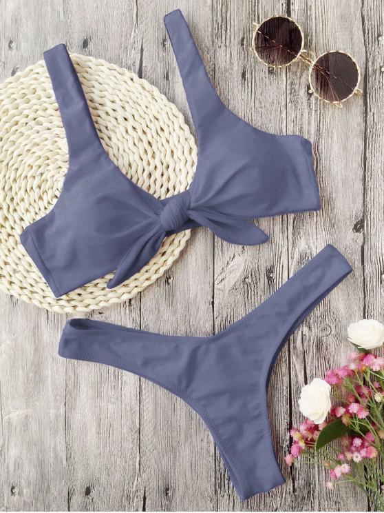 Bikini de Tanga Anudado con Pliegues - Gris S
