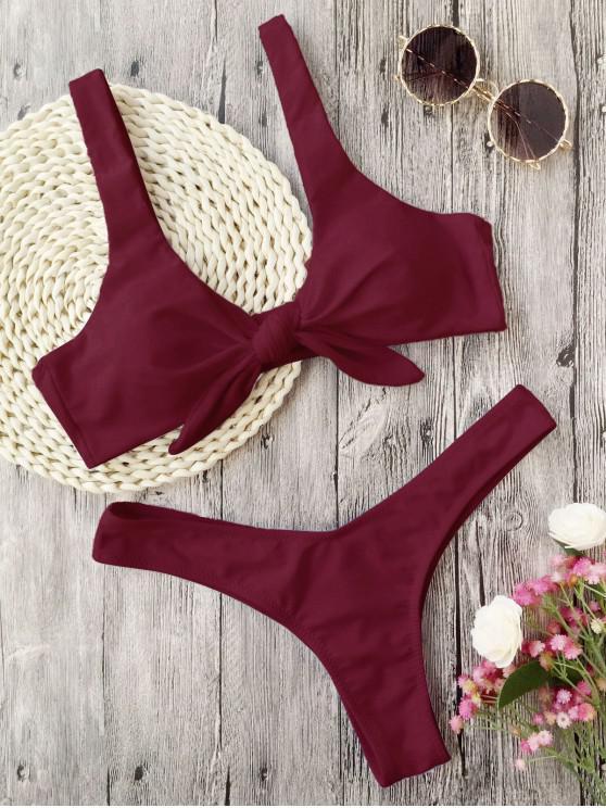 Bikini de Tanga Anudado con Pliegues - Burdeos S