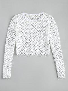 Cropped Sheer Mesh Top - White S