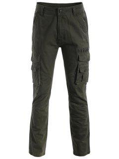 Pantalones De Los Bolsillos De La Aleta - Verde Del Ejército L