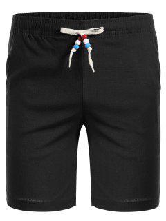 Drawstring Beaded Bermuda Shorts - Black 3xl