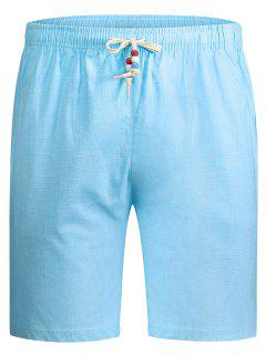 Drawstring Beaded Bermuda Shorts - Light Blue 5xl