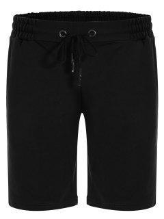 Side Pocket Drawstring Men Bermuda Shorts - Black M