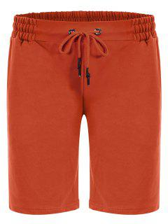 Side Pocket Drawstring Men Bermuda Shorts - Orange M