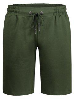 Side Pocket Drawstring Men Bermuda Shorts - Army Green M