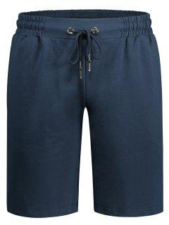 Side Pocket Drawstring Men Bermuda Shorts - Cadetblue L