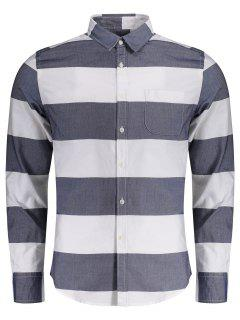 Single Breasted Pocket Striped Shirt - Blue And White Xl