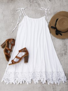 Lace Trim Trapeze Sundress - White M