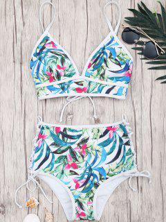 Bikini Taille Haute à Lacets à Imprimé Feuille - Floral M