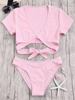 Knot Front High Cut Bathing Suit - Pink S