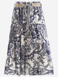 Belted Printed A Line Maxi Skirt - Off-white