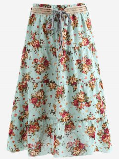Belted Printed A Line Maxi Skirt - Light Blue