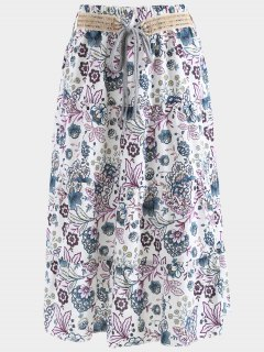 Belted Printed A Line Maxi Skirt - Purple