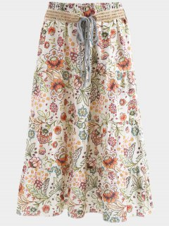 Belted Printed A Line Maxi Skirt - Apricot